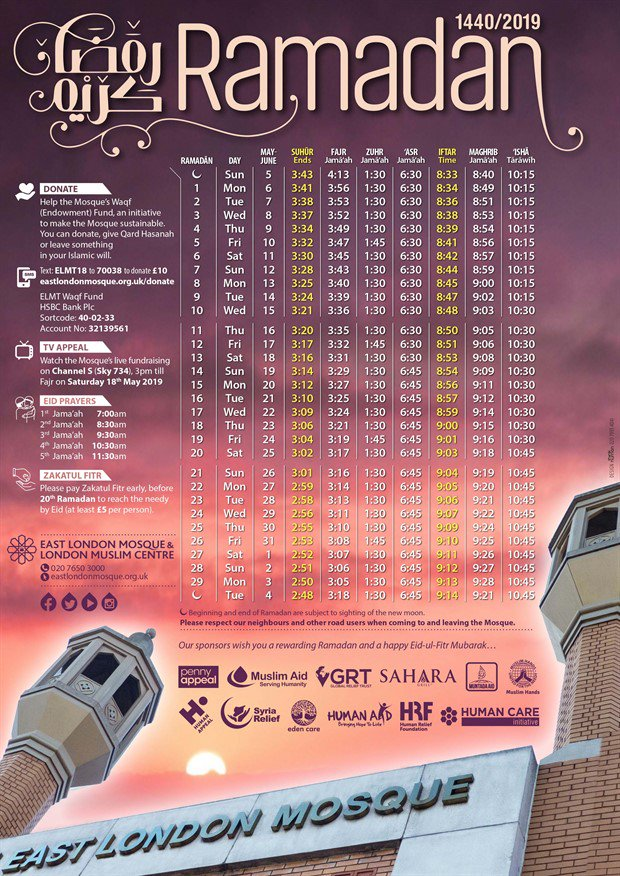 Ramadan timetable Uber