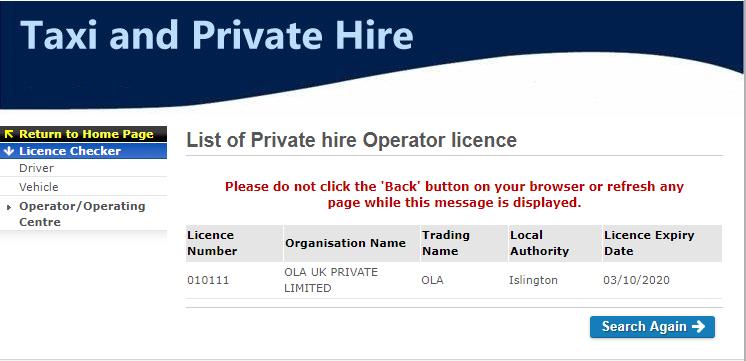 OLA London TfL licence