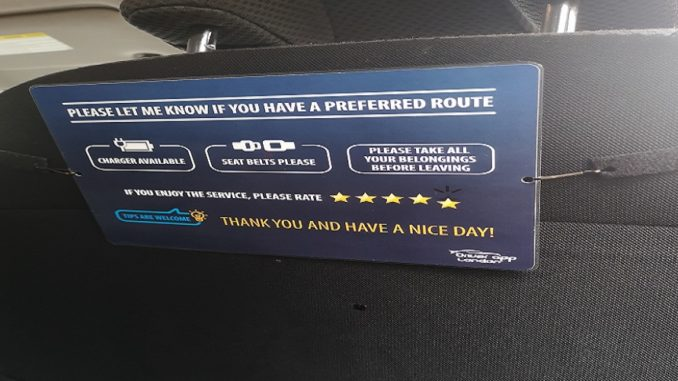 Car Interior Sign with Uber, Kapten, Bolt, ViaVan for PCO drivers