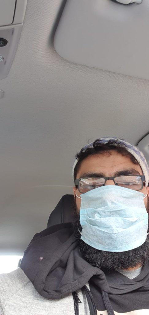 Corona virus driver Uber mask