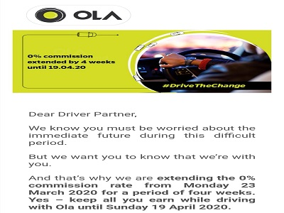 Ola Coronavirus help for drivers London