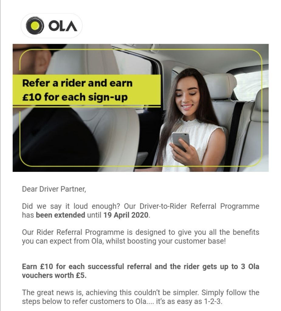 Ola advertisement during Covid-19 outbreak