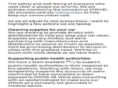 Uber Cleaning supplies Coronavirus