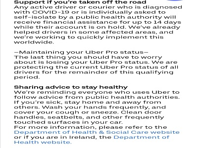 Uber Financial assistance drivers Coronavirus