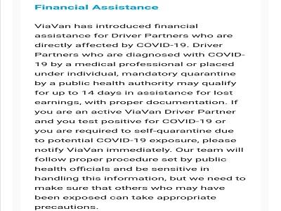 ViaVan financial assistance Covid-19